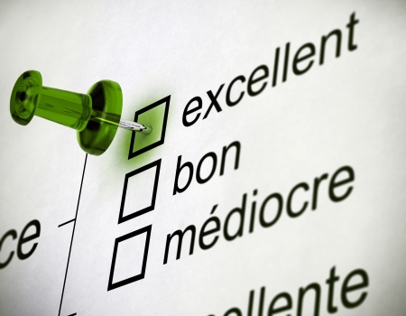 Quality survey close up with a thumbtack pointing on the word excellent Stock Photo - 19285056