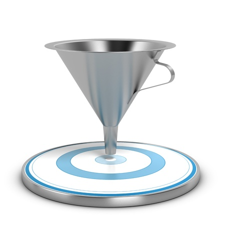 conversion: Empty metal funnel and blue target over white background, concept of conversion rate  Stock Photo