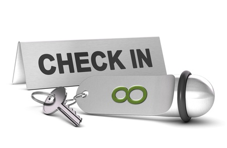 key and keyring of an hotel with the number height, check in sign at the background 3d render over white