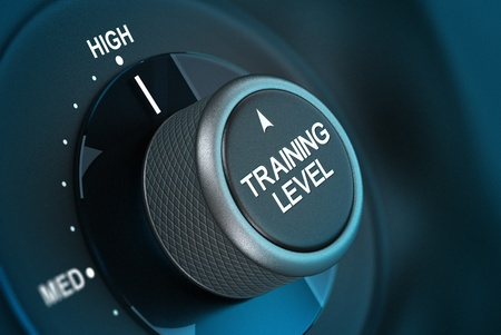 competency: Training button pointing on hith level, 3d render image vith blue tones and blur effect