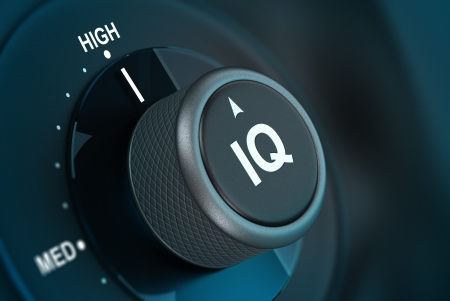 prodigy: IQ button pointing on hith level, 3d render image vith blue tones and blur effect