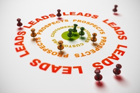 leads: three circles where it is written leads, prospects and customer, many thumbtacks pointing on different parts of the target. CRM concept or how to turn leads into clients. 3D Illustration image.