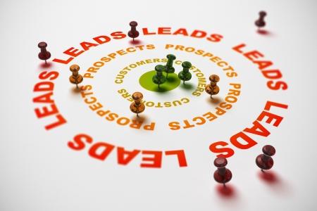 prospect: trois cercles o� il est �crit leads, prospects et clients, de nombreuses punaises pointant sur diff�rentes parties de la cible. concept de CRM ou comment transformer conduit en clients. Image Illustration 3D. Banque d'images