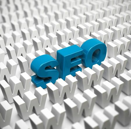 webmarketing: Abbreviation SEO in the middle of a crowd of W letters, image suitable for internet strategy, 3D Illustration image.