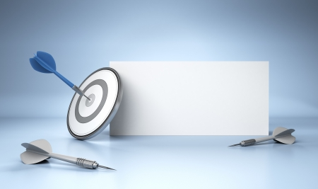 DARTS: One dart hit the center of a grey target in front of a blank sign dedicated for advertising, 3D render image over white background