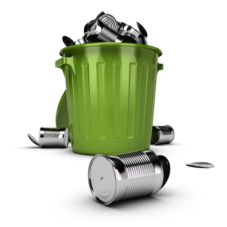 Green plastic bin full of metal can, 3D render image over white background photo