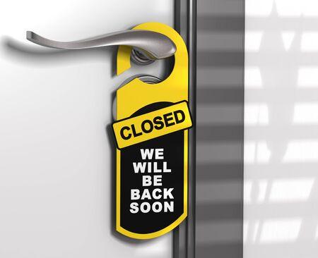 door hanger with the message come in we are open hanged on a door handle  photo