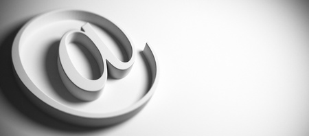 webmail: email symbol, at sign, grey background, panoramic image blur effect and copy space on the right, 3D render Stock Photo