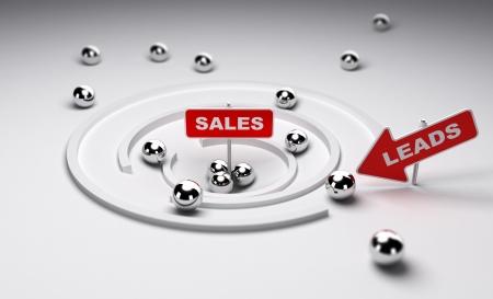 prospect: Processus de vente simplifi� une fl�che avec le mot m�ne ans une pancarte avec le mot vente, rendu 3d
