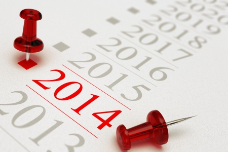 Two red pushpins over a timeline, the first one is pointing on the year 2014, grey background, copy space and blur effect