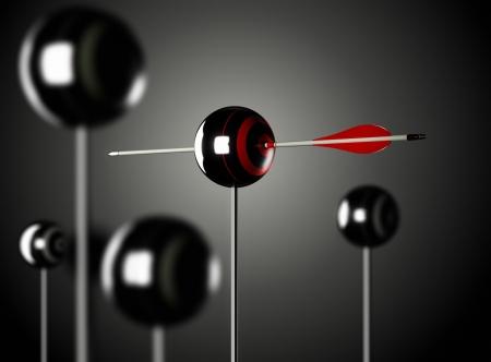 Une flèche rouge perçant une cible en forme de boule mouted sur un poteau, fond noir, Blur render illustration Effect3D