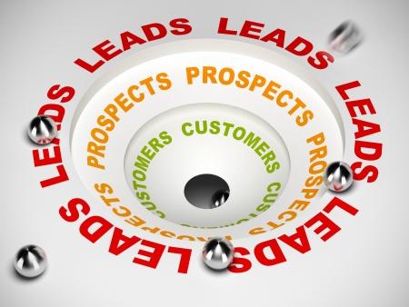 process diagram: Schema di processo di vendita, Conversione di lead in prospettive e quindi al cliente, illustrazione 3D
