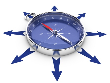 different strategy: One compass in the middle of a circle of arrow pointing in different directions, image suitable for help concept or opportunities management  3D render illustration Stock Photo