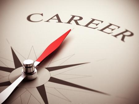 Una aguja de la brújula apunta la palabra carrera, imagen adecuada para la gestión de las oportunidades de carrera en 3D rinden la ilustración Foto de archivo