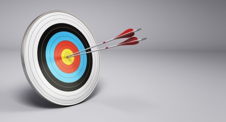 reached: Two arrows hitting the center of a target, grey background  3D render illustration