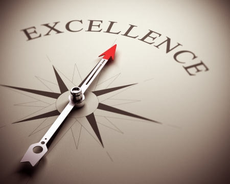 best quality: Compass needle pointing the word excellence, image suitable for business concept  3D render illustration