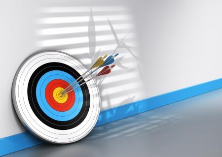 Escena de la oficina, un objetivo y tres flechas de diferentes colores golpear el centro, imagen conceptual de trabajo en equipo para la consecución de objetivos