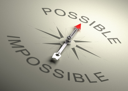 adversity: Needle of a compass pointing on the word possible, Realistic 3D render with depth of field, blurr effect on the word impossible  Stock Photo