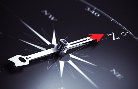3 D レンダラ ・ イラスト ビジネス コンサルティング概念に適した画像北方向を指すコンパスの針
