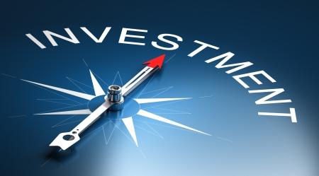 Naald van een kompas wijst naar het woord investering, 3D Render geschikt voor financieel risico management concept