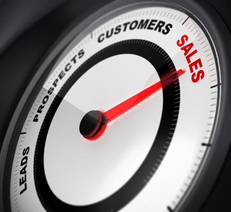 dial with red needle pointing on the word sales, concept image suitable for leads conversion purpose