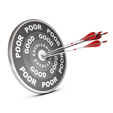 exceptional: Three red arrow hitting the center of a quality target with the words poor, good and excellent, 3D render over white  Stock Photo