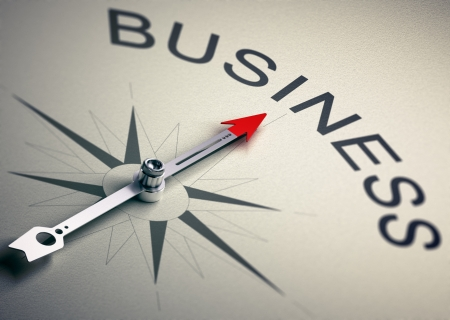 Needle of a compass pointing to the word business, 3D Render suitable for Business consulting concept  Depth of field effect photo