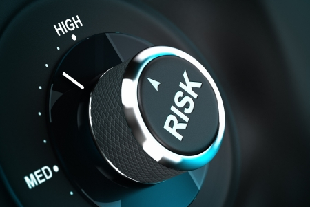 risks button: Button with the word risk pointing between medium and high level, 3D render suitable for risk management or decision-making process situation  Depth of field   Stock Photo