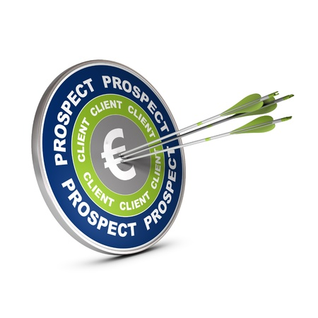 prospecting: Business target with the words lead, client and euro symbol, three arrows hiting the center of the dart 3D render over white