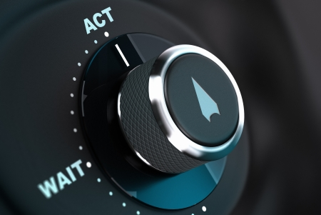 take action: Decision button with the words wait and act, button arrow pointing to the word action  3D render, concept image for proactivity Stock Photo