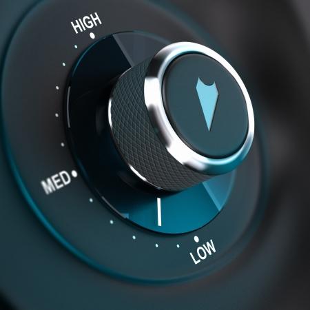 Bouton rotatif à 3 positions, basse, moyenne et haute Rendu 3D, image concept pour la gestion des risques Banque d'images