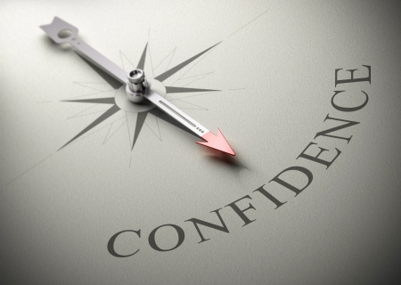self esteem: Needle of a compass pointing the word confidence, 3D render, concept image for self-confidence