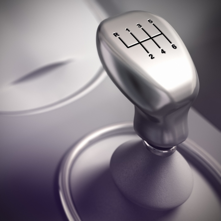 gearshift: Detail of Gearshift in a car, 3D render with blur effect