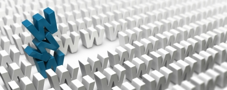 webmarketing: Stack of letter w forming a www tower in the middle of a crowd of letters, image suitable for internet strategy, 3D render