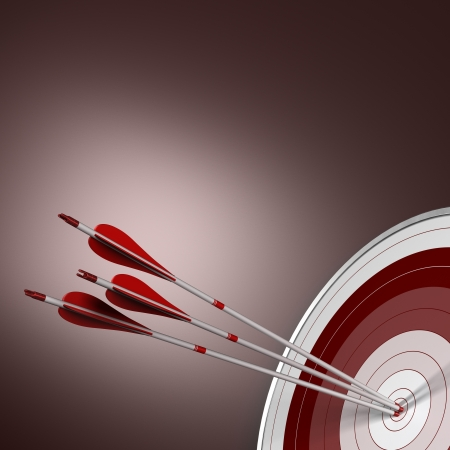 bull s eye: 3D render  Three arrows hits the center of a red target in the bottom right angle of the image  Concept image suitable for synergy purpose