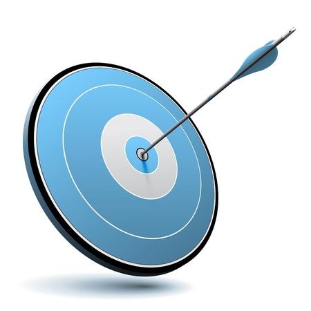 1 つの矢印が青いターゲット、ビジネスやマーケティングのロゴに適したベクトル画像のセンターをヒット