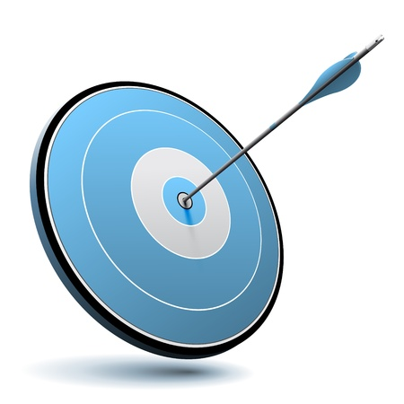 Una freccia ha colpito il centro di un bersaglio blu, vettore adatto per affari o di marketing logo Archivio Fotografico - 20304381