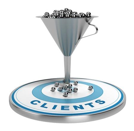 webmarketing sales funnel met metalen bollen binnenkant plus een blauwe doel met een aantal ballen op het, illustratie op wit wordt geïsoleerd Stockfoto