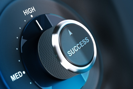 Rotating button with the word success, arrow pointing to the high  3D render, concept image for motivation