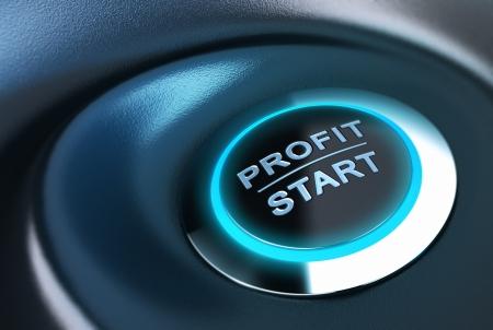 verhogen: Profit knop met blauw licht 3D render over blauwe en zwarte achtergrond geschikt voor kapitaalbeheer oplossingsconcept Stockfoto