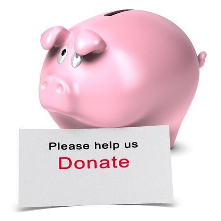 charities: Text Please help us, donate written on a white card against a piggy bank  3D render over white background suitable for non-profit organization danation page