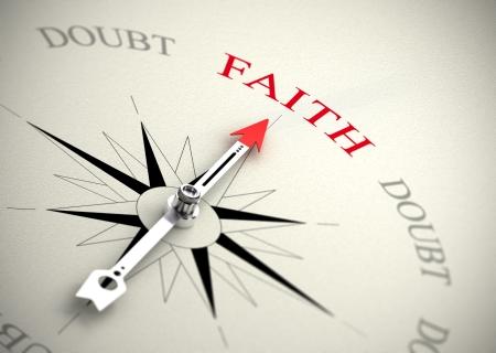 단어 믿음을 가리키는 화살표와 나침반 종교 자신감 개념에 적합한 이미지를 3D 렌더링