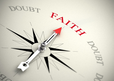 dudas: Compás con la flecha apuntando a la imagen palabra fe 3D render adecuado para la religión o el concepto de confianza en uno mismo Foto de archivo