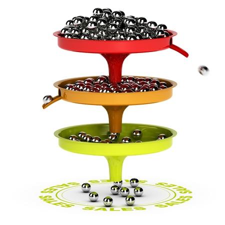 Ventas embudo con tres bolas Chrome niveles y las ventas de destino de representación 3D sobre fondo blanco adecuado para la conversión de negocios de clientes potenciales a los clientes