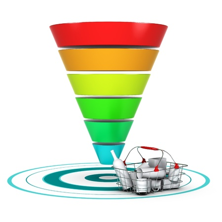 Sales funnel with 6 stages, easily customizable from 3 to 6 levels with a basket and a target. conceptual diagram suitable for marketing or business purpose.   photo