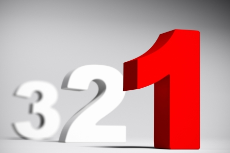 Numbers three two and red one over a grey background with depth of field effect  3D render with depth of field effect  Banque d'images