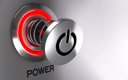 power failure: Power button of a computer hanged at the end of a spring with red light  Concept image suitable for computer maintenance or hardware failure  3D render with depth of field effect