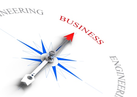 orientation: Arrow of a compass pointing the word business  Concept image suitable for professional guidance or school orientation  3D render with depth of field effect