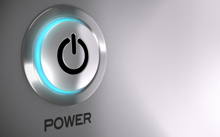 poweron: Push button with blue light and depth of field effect - 3D render concept image suitable for power energy button with copy space on the right side
