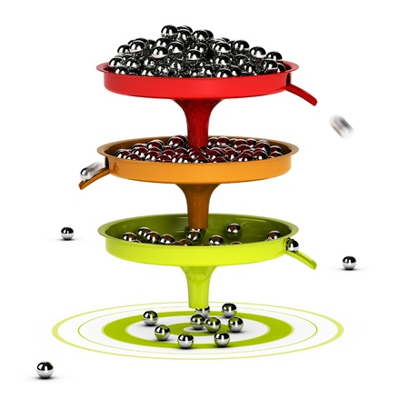 reached: Three funnels with balls inside and green target - Abstract schematic 3D render concept image suitable for conceptual illustration of a conversion funnel